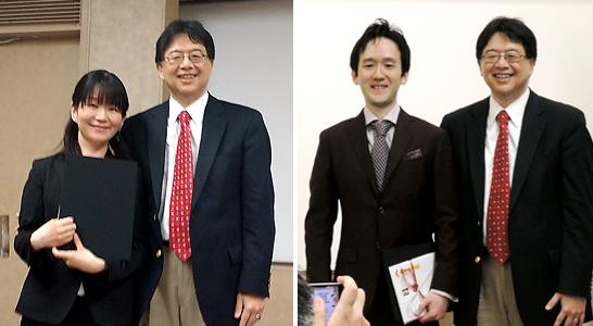 MDアンダーソンがんセンター乳腺腫瘍内科教授上野直人氏から、受賞者である喜多久美子氏ならびに西本光孝氏