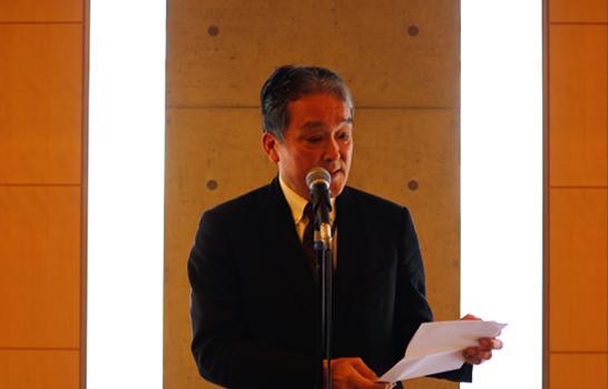 日本対がん協会理事長 後藤尚雄郎氏より開会挨拶と受賞者の紹介