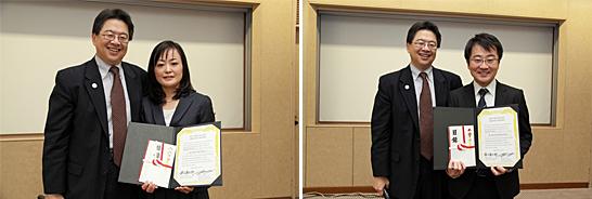MDアンダーソン乳腺腫瘍内科教授の上野直人氏からアワードの授与および目録贈呈