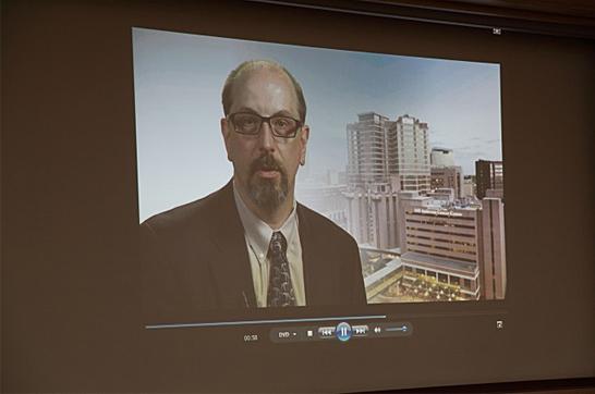 MDアンダーソンSenior Vice PresidentのOliver Bogler氏(Global Academic Programs VP)からビデオによる祝辞